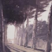 grove-shadows-dusk, oil on birch ply, 10x8 inches, 2015