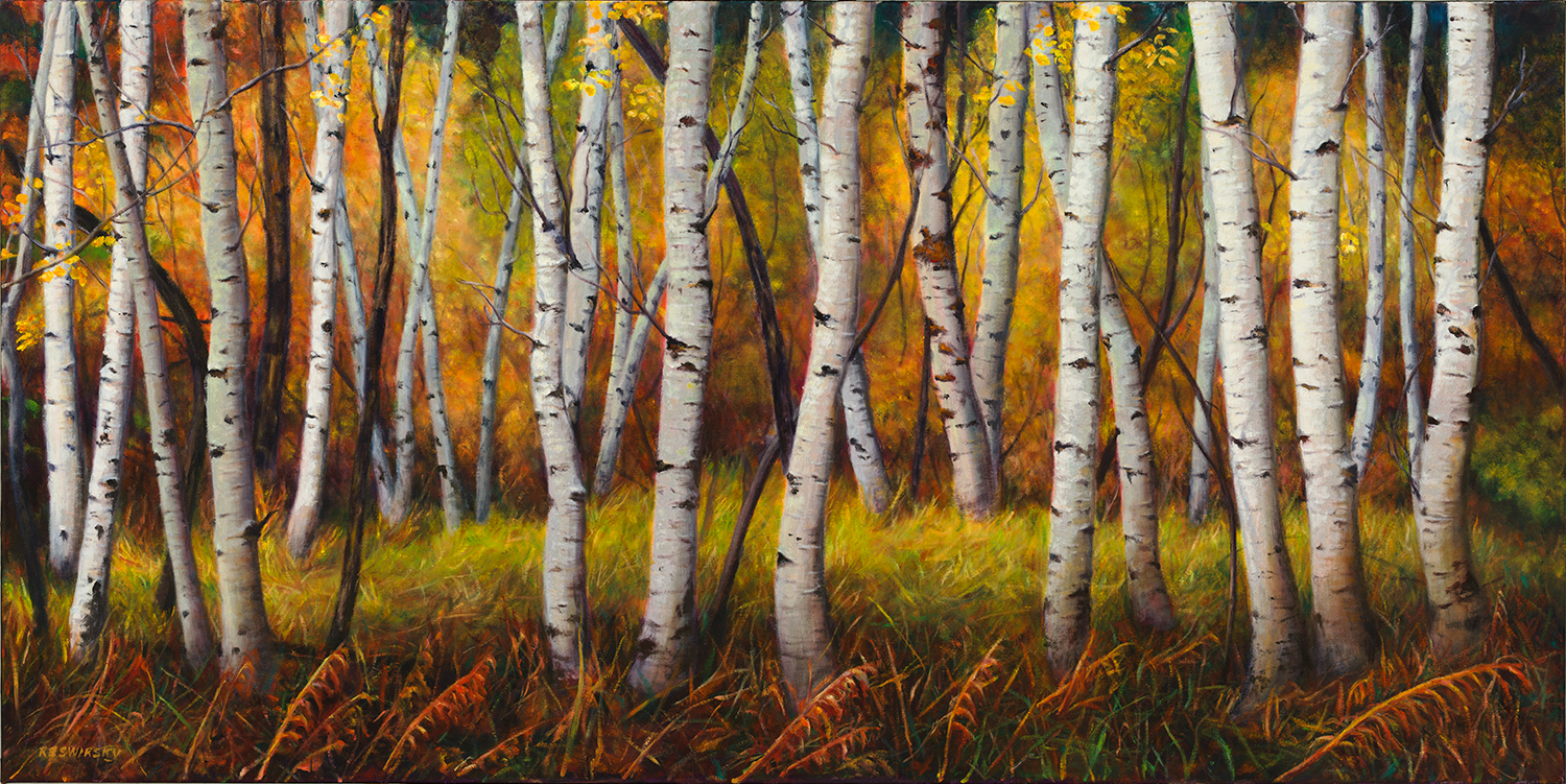 Autumn Symphony, below, was commissioned for a client in Ontario and delivered only three weeks ago. This client wanted that special feel of an east coast autumn which is rich in red and and oranges, much different than the Autumn colours we have in Alberta. The success of how well this piece has been received by my client other friends and artists has inspired me to create a series of birch landscape scenes in the coming months. The colours on this piece show very well and would make a great choice for showing in print.
