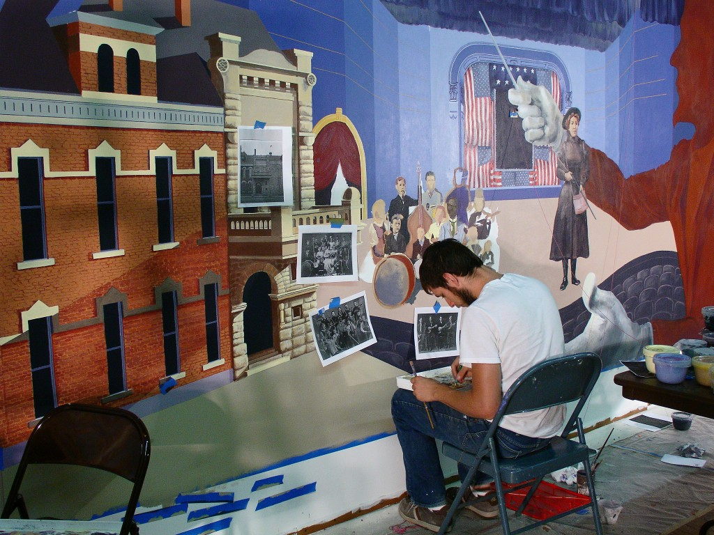 Working on upper lobby Junction city mural